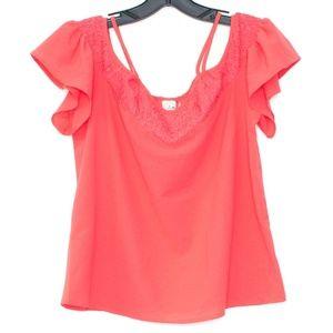 Paper Crane Pink Cold Shoulder Top Womens Small A2